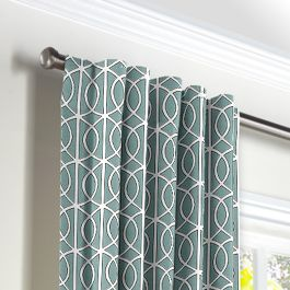Modern Teal Trellis Back Tab Curtains Close Up