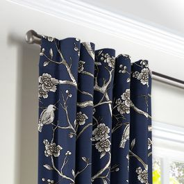 Navy Blue Floral & Bird Back Tab Curtains Close Up