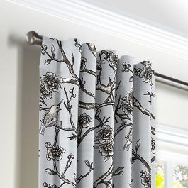 Gray Floral & Bird Back Tab Curtains Close Up