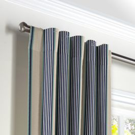 Gray, Teal & Blue Stripe Back Tab Curtains Close Up
