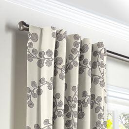 Gray Botanical Swirl Back Tab Curtains Close Up
