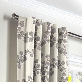 Gray Botanical Swirl Back Tab Curtains Close Up