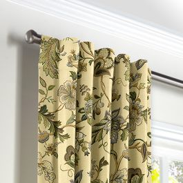 Jacobean Beige Floral Back Tab Curtains Close Up