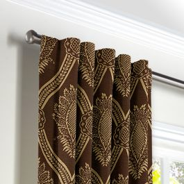Brown Medallion Trellis Back Tab Curtains Close Up