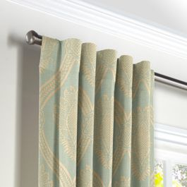 Aqua Medallion Trellis Back Tab Curtains Close Up