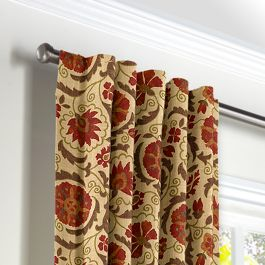 Beige & Red Suzani Back Tab Curtains Close Up