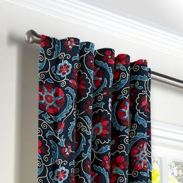 Red & Navy Blue Suzani Back Tab Curtains Close Up