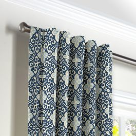 Blue Moroccan Mosaic Back Tab Curtains Close Up