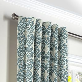 Aqua Moroccan Mosaic Back Tab Curtains Close Up