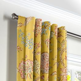 Delicate Yellow Floral Back Tab Curtains Close Up