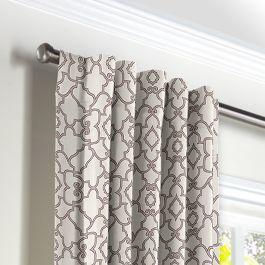 Gray Moroccan Trellis Back Tab Curtains Close Up