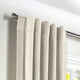 Ivory Slubby Linen Back Tab Curtains Close Up