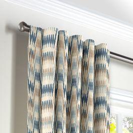 Tan & Blue Flame Stitch Back Tab Curtains Close Up