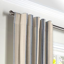 Blue Burlap-Style Stripe Back Tab Curtains Close Up
