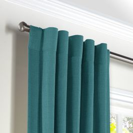 Dark Teal Linen Back Tab Curtains Close Up