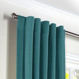 Dark Teal Linen Back Tab Curtains Close Up