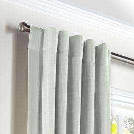 Pale Seafoam Slubby Linen Back Tab Curtains Close Up