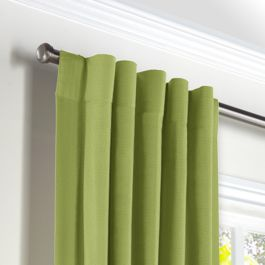 Grass Green Slubby Linen Back Tab Curtains Close Up