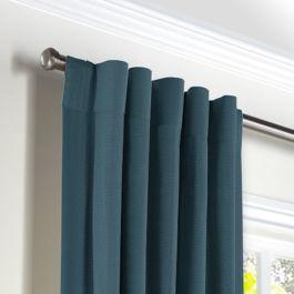 Dark Navy Slubby Linen Back Tab Curtains Close Up