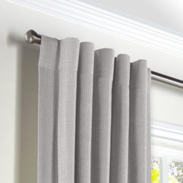 Purple Gray Slubby Linen Back Tab Curtains Close Up