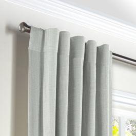 Pale Gray Slubby Linen Back Tab Curtains Close Up