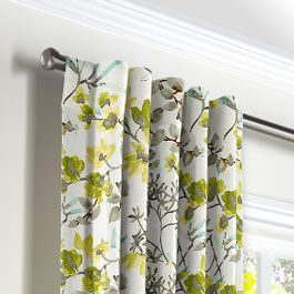Aqua Blue Watercolor Floral Back Tab Curtains Close Up