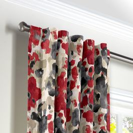 Gray & Red Watercolor Back Tab Curtains Close Up