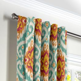Turquoise & Red Ikat Medallion Back Tab Curtains Close Up