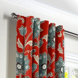 Aqua & Red Floral Back Tab Curtains Close Up