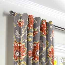 Coral & Gray Floral Back Tab Curtains Close Up