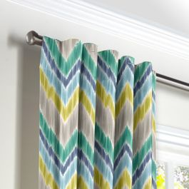 Gray, Green & Blue Chevron Back Tab Curtains Close Up