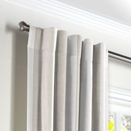 Light Beige Awning Stripe Back Tab Curtains Close Up