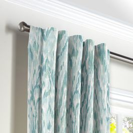 Aqua Blue Watercolor Back Tab Curtains Close Up