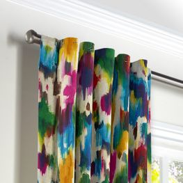 Multicolor Watercolor Back Tab Curtains Close Up