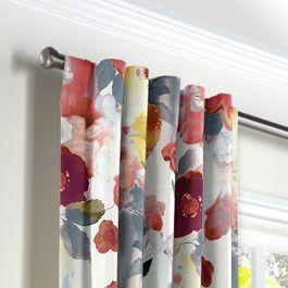 Coral Pink Watercolor Back Tab Curtains Close Up