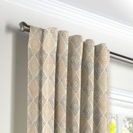 Beige Diamond Block Print Back Tab Curtains Close Up
