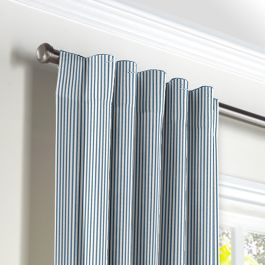 Blue Ticking Stripe Back Tab Curtains Close Up