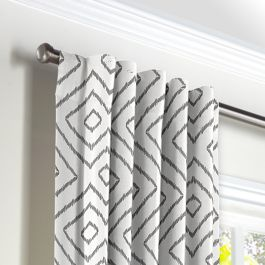 White & Gray Diamond Back Tab Curtains Close Up