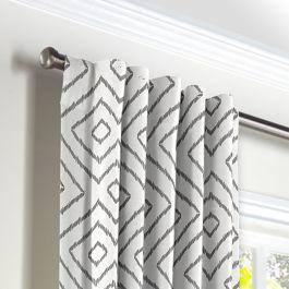 White & Gray Diamond Back Tab Curtains Close Up