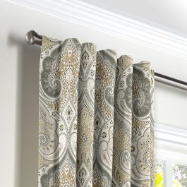 Gray & Tan Paisley Back Tab Curtains Close Up