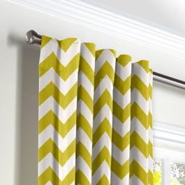 Lime Green Chevron Back Tab Curtains Close Up