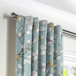 Modern Aqua Floral Back Tab Curtains Close Up
