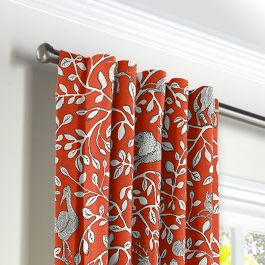 Red Animal Motif Back Tab Curtains Close Up