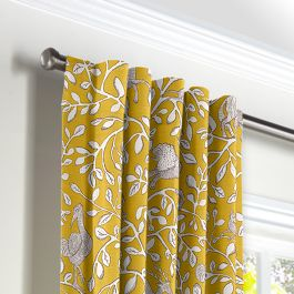 Yellow Animal Motif Back Tab Curtains Close Up