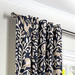 Navy Blue Animal Motif Back Tab Curtains Close Up