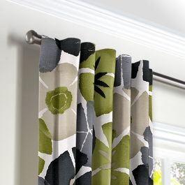 Modern Gray & Green Floral Back Tab Curtains Close Up
