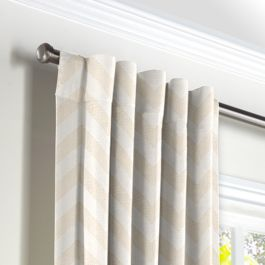 Metallic White & Gold Chevron Back Tab Curtains Close Up