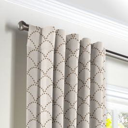 Embroidered Taupe Scallop Back Tab Curtains Close Up