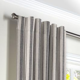 Rustic Gray Stripe Back Tab Curtains Close Up