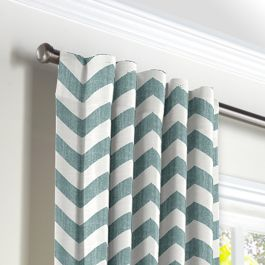 White & Blue Chevron Back Tab Curtains Close Up
